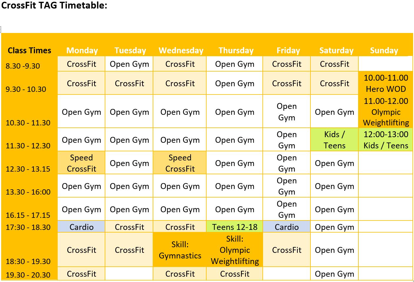 Sevenoaks CrossFit Timetabke