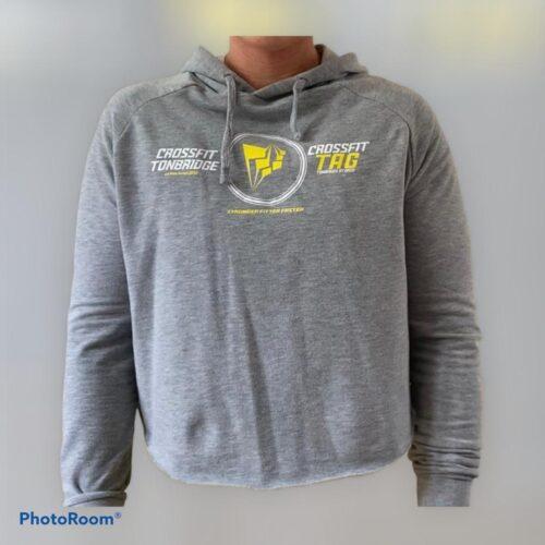 Dual logo cropped hoodie